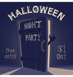 Open door on halloween night party vector