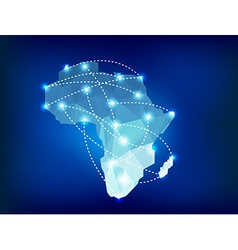 Africa map polygonal with spot lights places vector