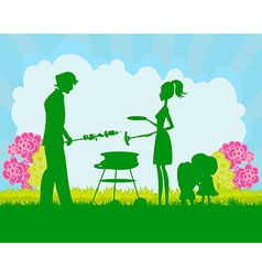 Happy family with barbecue vector