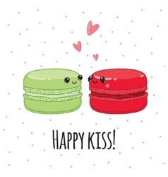 Postcard happy kiss lovers macaroon vector