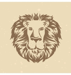 Lion head in engraving style vector