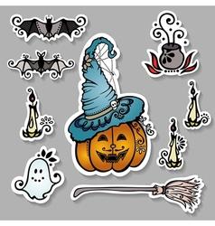 Set of ornate halloween decorations vector