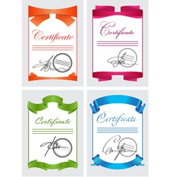 Certificate set color icons vector