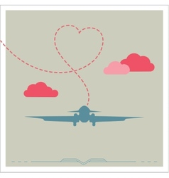 Silhouette of a plane with heart vector