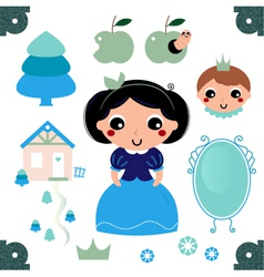 Cute beautiful snow white isolated on white vector