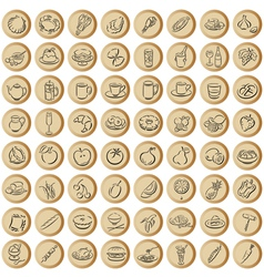 Copper buttons with food symbols vector