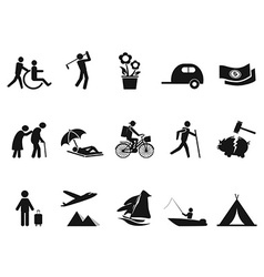 Black retirement life icons set vector