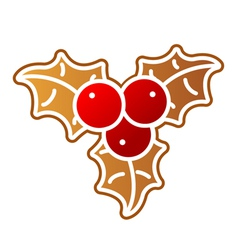 Gingerbread holly berry vector