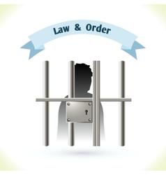 Law icon prisoner in jail vector