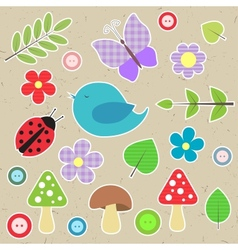 Set of scrapbook elements - animals nature buttons vector