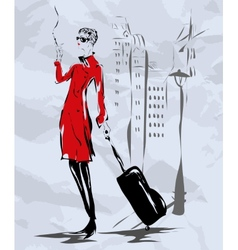 The girl in a red coat goes down the street vector