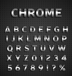 Chrome alphabet set vector