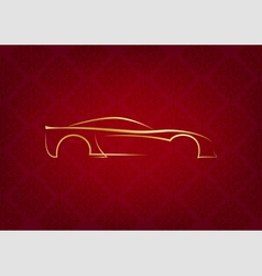 Abstract calligraphic car logo on red background vector