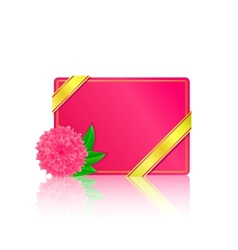 Pink card with flower and leaf vector