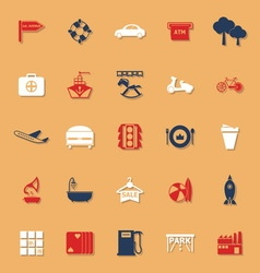 Map place classic color icons with shadow vector