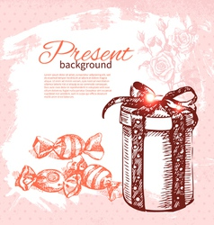 Hand drawn vintage present background vector