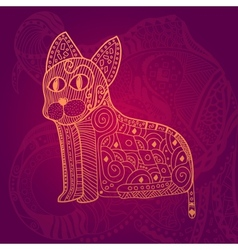 Abstract lace cat card vector