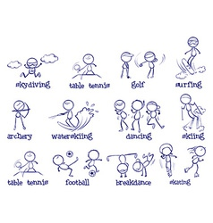 Spports doodle set on white vector