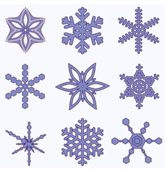 Simply snowflake set vector