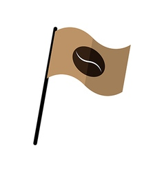 Coffee bean on fly flag vector