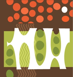 Abstract pea pods tomatoes garden collage vector