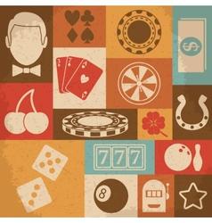 Casino retro icons set vector