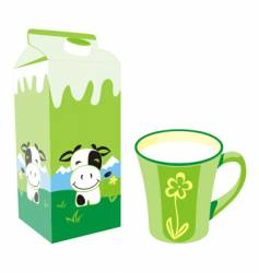 Milk carton and mug vector