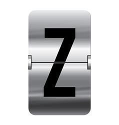 Alphabet silver flipboard letters z vector