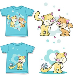 Kid shirt with cute cat in love printed - isolated vector