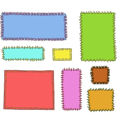 Set of textile patches vector