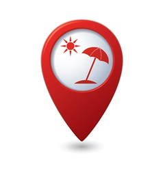 Beach icon on red map pointer vector
