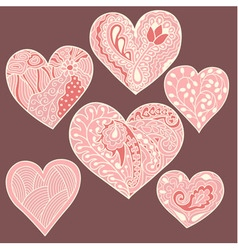 Set of 6 heart drawing vector