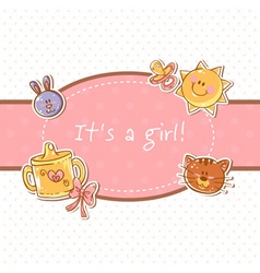 Baby born sweet girl congratulation postcard vector