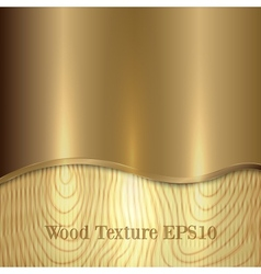 Yellow metal plaque placed on wooden background vector