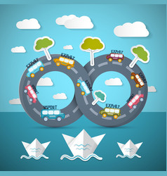 Infinity road with cars ocean bats clouds and vector