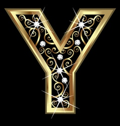 Y gold letter with swirly ornaments vector