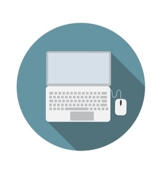Laptop flat icon with long shadow vector