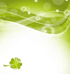 Abstract wavy background with clover for st vector