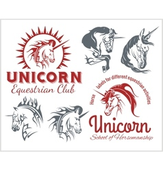 Set - unicorns and horses equestrian labels badges vector