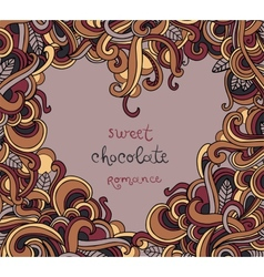Background with abstract heart frame curls vector