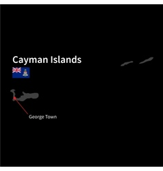 Detailed map of cayman islands and capital city vector
