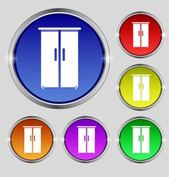 Cupboard icon sign round symbol on bright vector