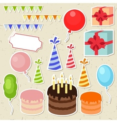 Set of birthday party elements for scrapbooking vector