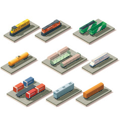 Isometric trains and cars vector