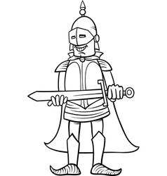Knight with sword cartoon coloring page vector