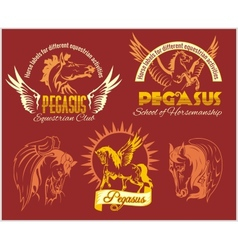 Pegasus and horses vintage labels badges vector