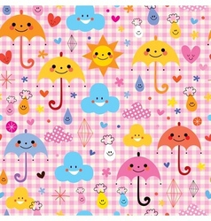 Cute umbrellas raindrops flowers clouds characters vector