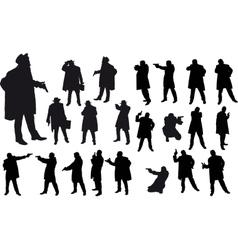 Black gangster silhouette vector