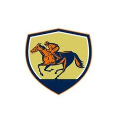 Jockey horse racing shield woodcut vector