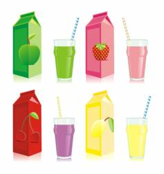 Juice carton box and glass vector